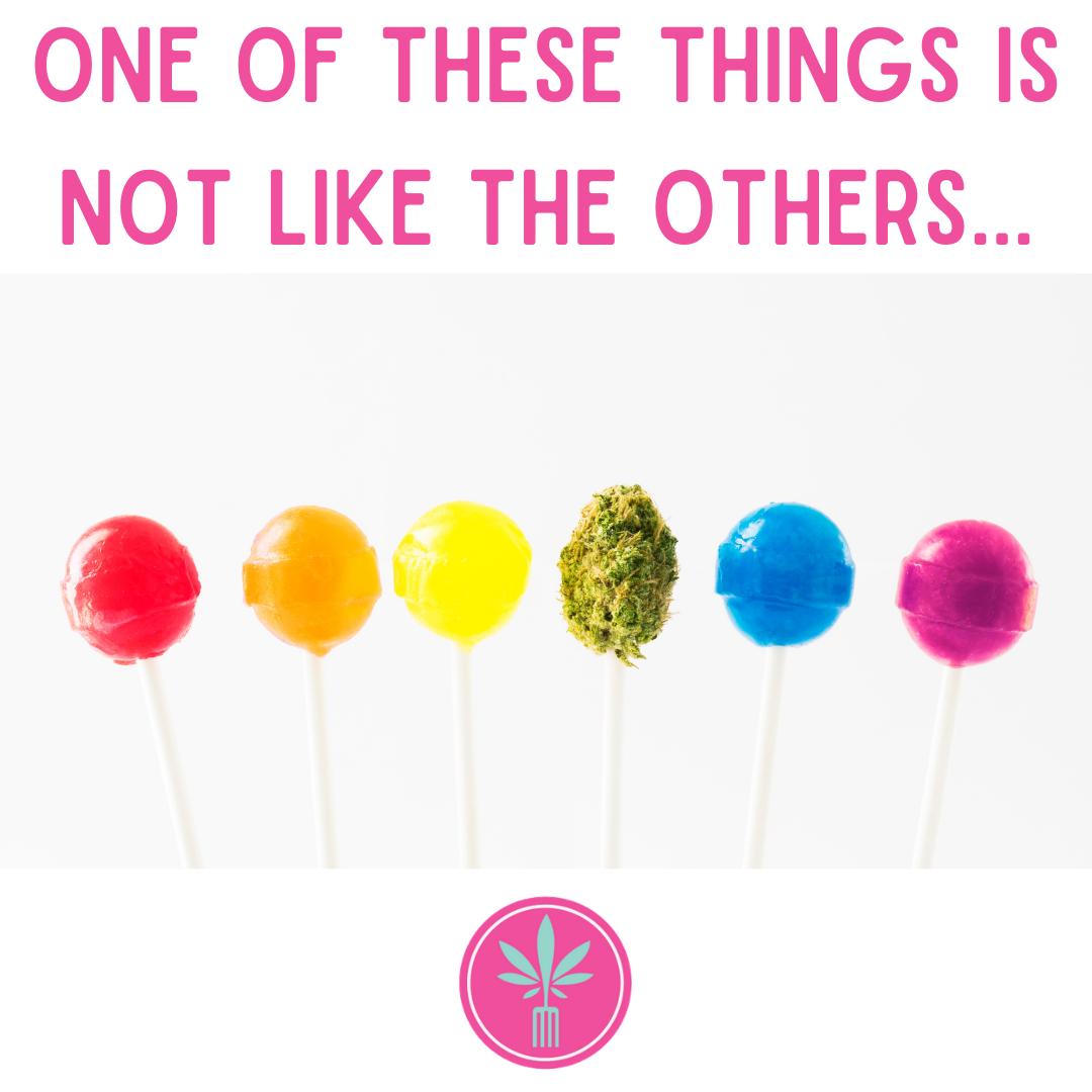 Row of Lollipops with one a marijuana bud